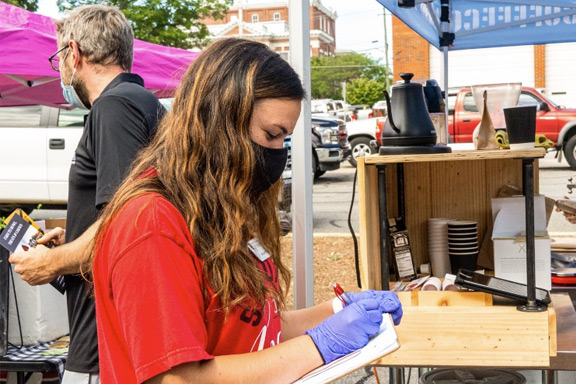 UGA Extension intern Katie Martin worked with Cartersville Farmers Market Coordinator Regina Shaw at the Cartersville Farmers Market over the summer.