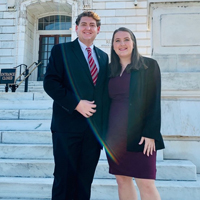 CAES 2020 Congressional Ag Fellows Ben Murray (left) and Julie Bacon pause for a photo at the nation's Capitol.