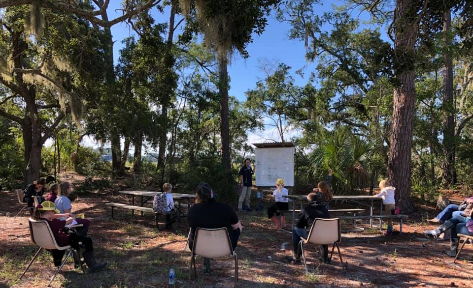 Students participate in socially distant hands-on learning in 4-H environmental education classes. Pictured is a group at Burton 4-H Center in Tybee Island, Georgia.