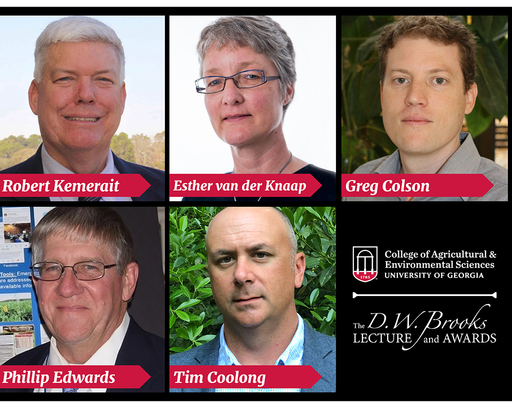 The winners of the 2020 D.W. Brooks Faculty Awards for Excellence are Bob Kemerait, Esther van der Knaap, Gregory Colson, Phillip Edwards and Tim Coolong.
