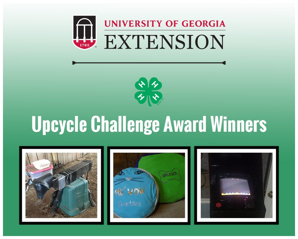 Winners for the 2020 Upcycle Challenge are Owen Aymett, grades 2-5, who made a calf roping dummy;  Nandini Patel, grades 6-8, who created throw pillows; and Liam Jay, grades 10-12, who created a video game cabinet.