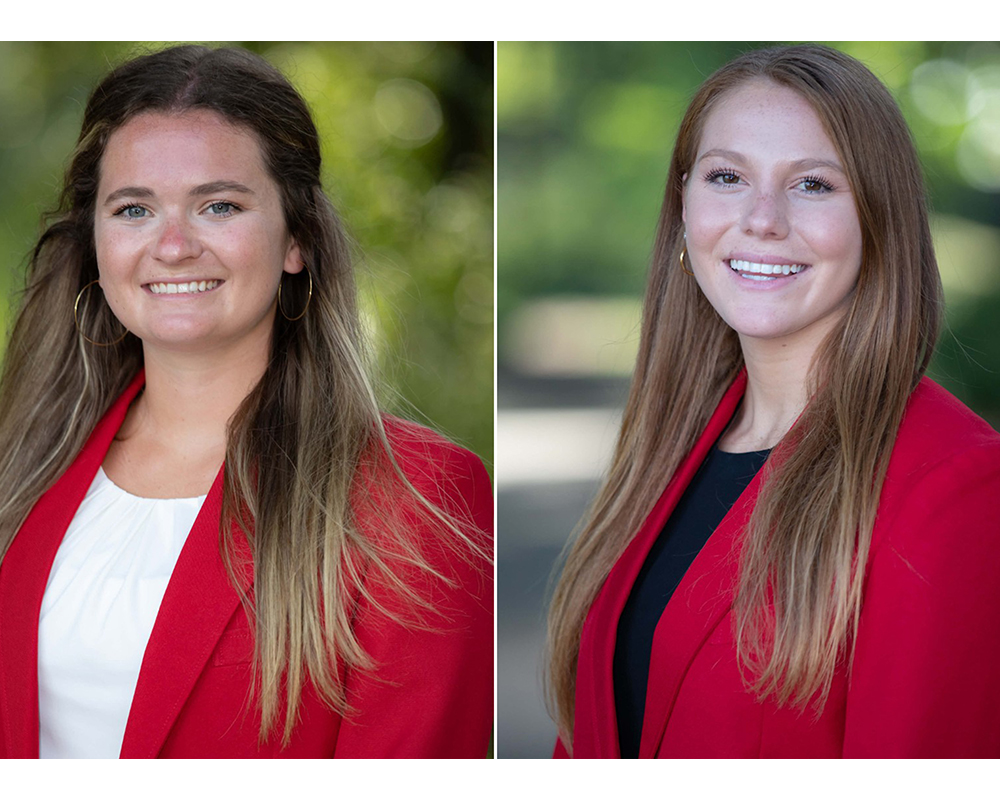 Katelyn Bickett (left), a senior agricultural communications major from Chickamauga, Georgia, and Brooke Raniere (right), a junior environmental economics major from Peachtree City, Georgia, will spend 12 weeks in the state Capitol during the legislative session that begins in January 2021.