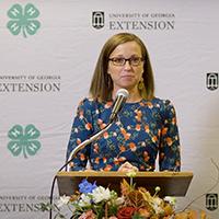 Lanier, the recipient of the 2020 Ryles Rising Star Award, gives a speech.