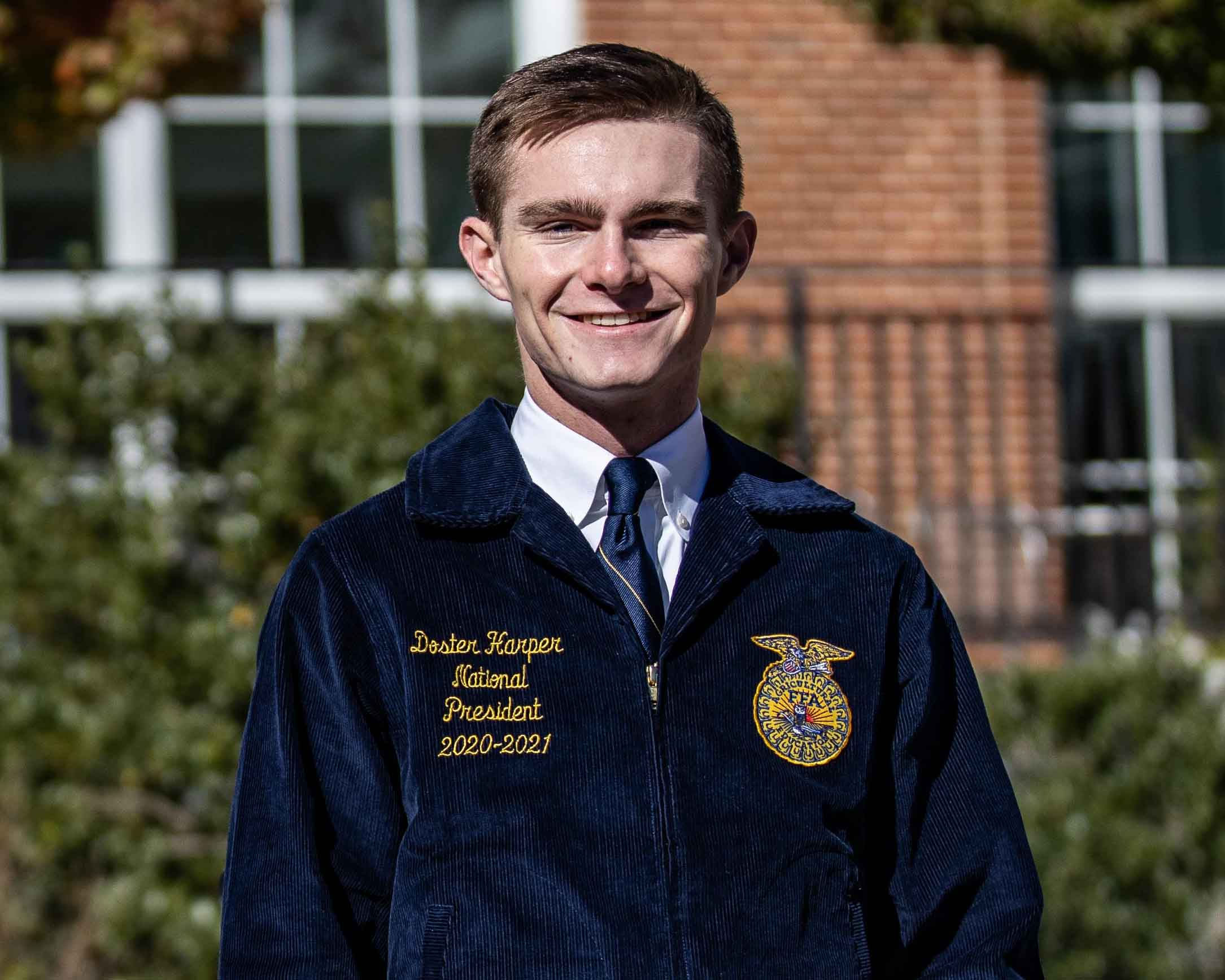 Doster Harper, a junior studying agriscience and environmental systems at the College of Agricultural and Environmental Sciences, was named president of the 2020-21 National FFA Officer Team. Harper is from Covington, Georgia, and attended Newton College and Career Academy. (Photo by Sean Montgomery)