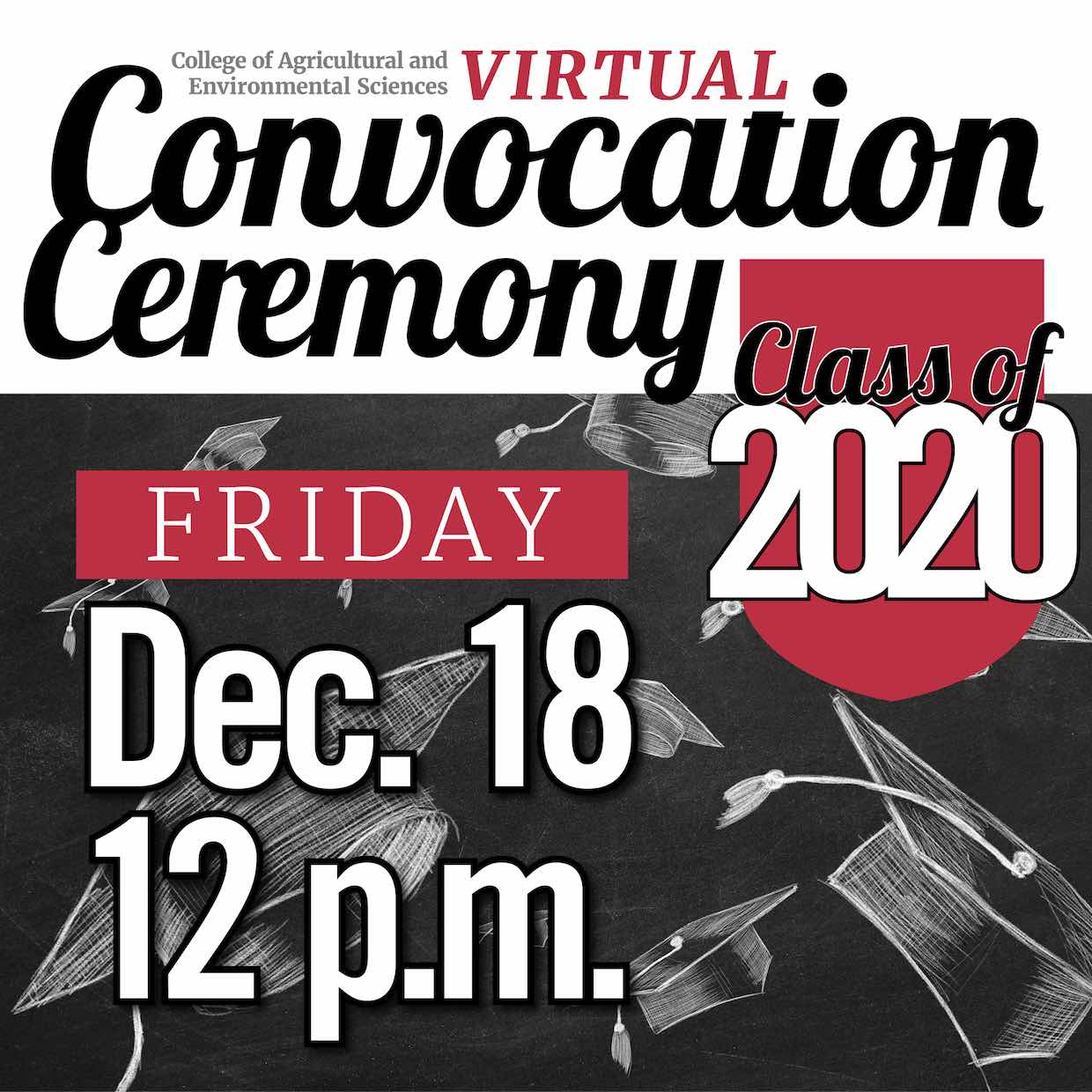 The UGA College of Agricultural and Environmental Sciences will hold a virtual convocation ceremony at noon on Friday, Dec. 18, to celebrate new graduates.