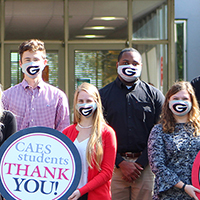 Joined by departmental student ambassadors, Todd Applegate (far right), UGA poultry science department head, sends a thank you to donors for supporting the university's Department of Poultry Science.