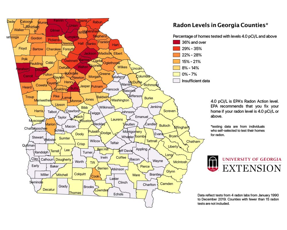 Radon levels in Georgia counties based on data from tests from four radon labs from January 1990 through December 2019. Counties with fewer than 15 radon tests are not included.