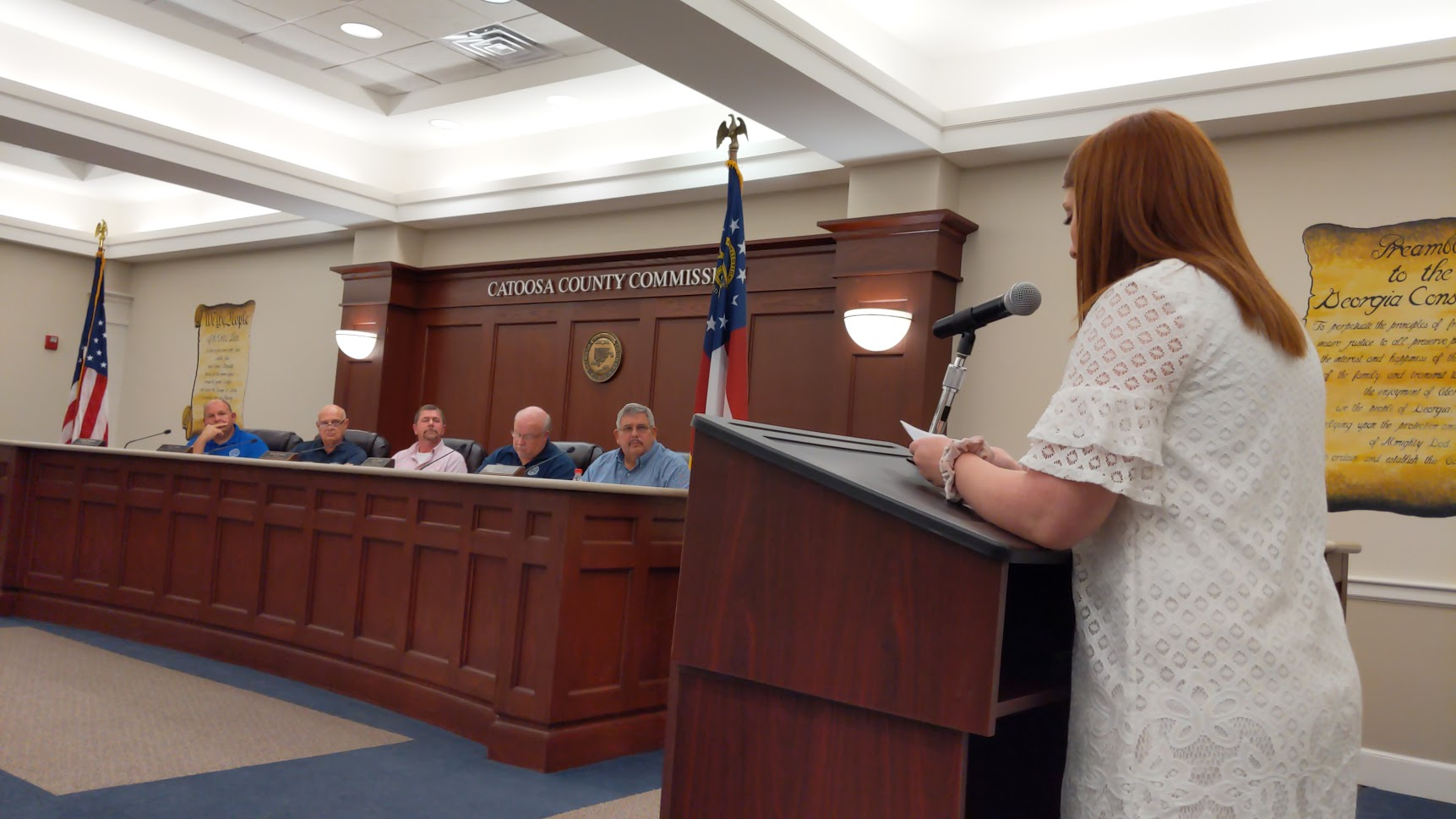 Emily Momberg speaking about the digital divide at a commission meeting in Catoosa County. (file photo)