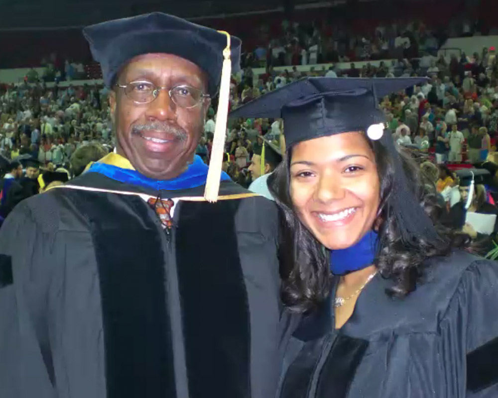 Biosecurity expert and plant pathology alumna Ada Bacetty poses with UGA adjunct professor Charles Bacon after her 2008 graduation. (contributed)