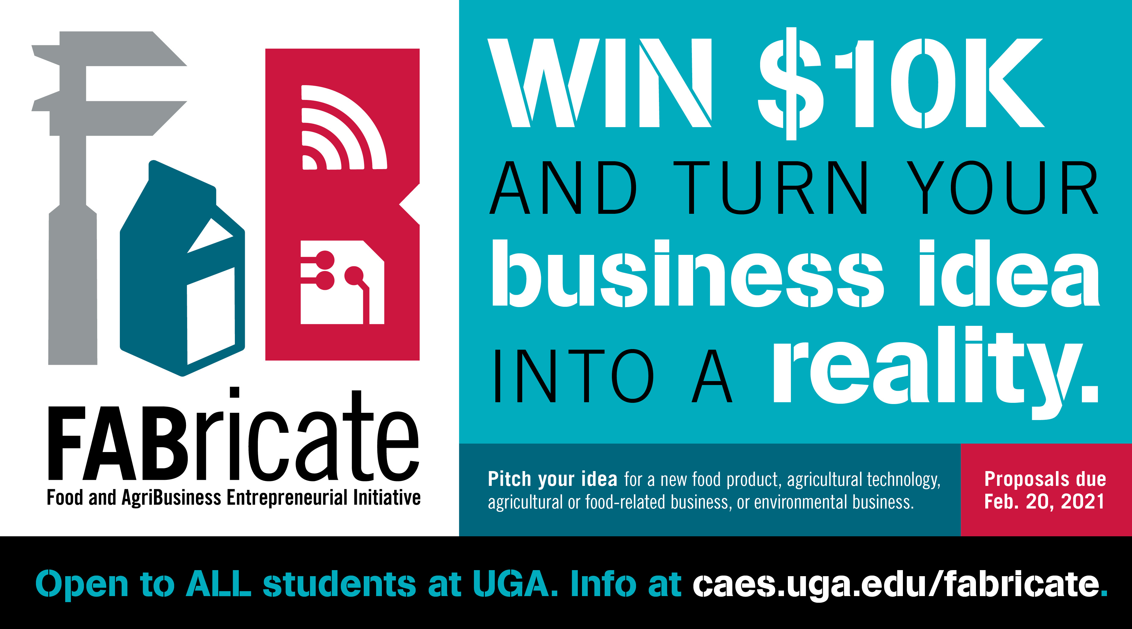FABricate is an entrepreneurial pitch contest hosted by the UGA College of Agricultural and Environmental Sciences. Proposals are due Feb. 20 for the 2021 contest.