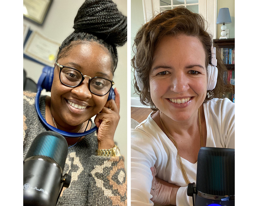 "UGA Cooperative Extension Family and Consumer Sciences (FACS) agents Leslie Weaver (left) and Carrie Vanderver produce the bi-weekly podcast Two Agents and the FACS to deliver ""reliable, relatable and research-based"" information to listeners."