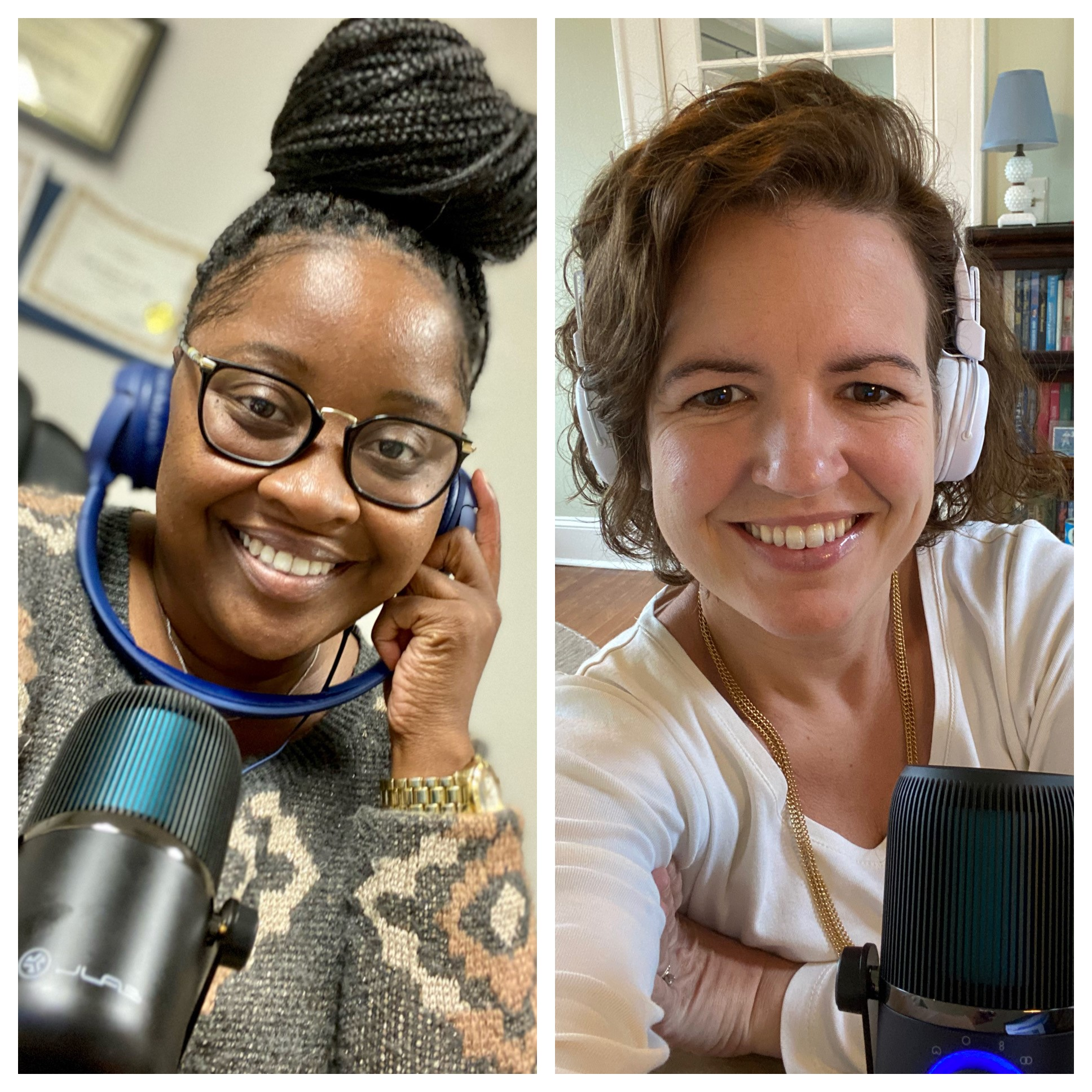 """UGA Extension Family and Consumer Sciences agents Leslie Weaver (left) and Carrie Vanderver produce the bimonthly podcast Two Agents and the FACS to deliver """"reliable, relatable and research-based"""" information to listeners."""