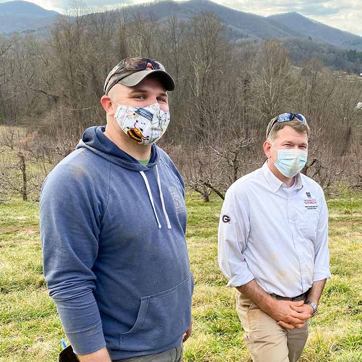 From left, Josh Fuder, Ray Covington and Stephen Mihm have been UGA's driving forces behind the creation of the Heritage Apple Orchard. (Photo by Mike Terrazas)