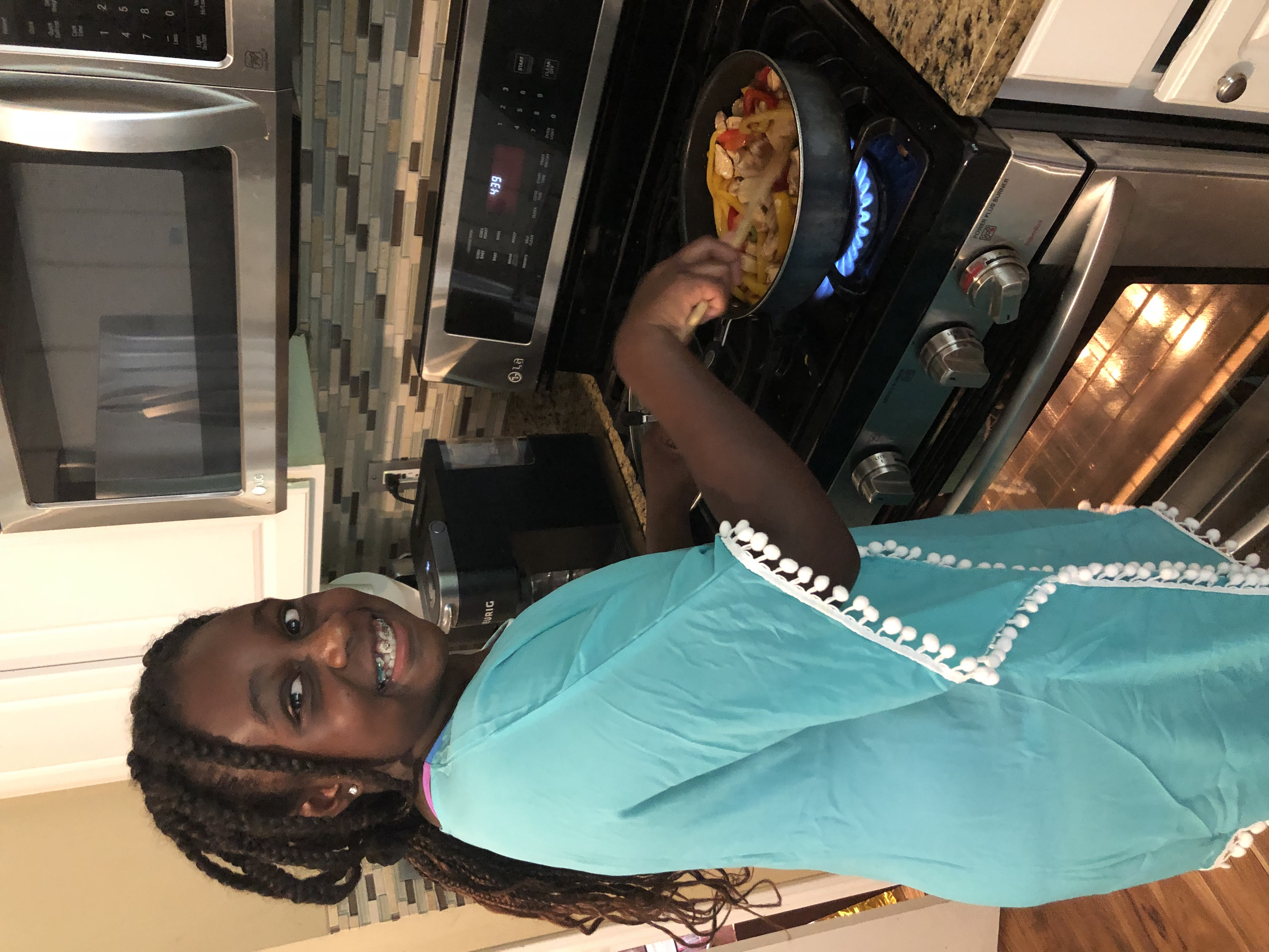"A favorite moment for many virtual cooking club participants is at the end of each class when students present their completed dishes to the camera. ""They love to show what they've made,"" explained Zoe Soltanmammedova, Family and Consumer Sciences Extension agent."