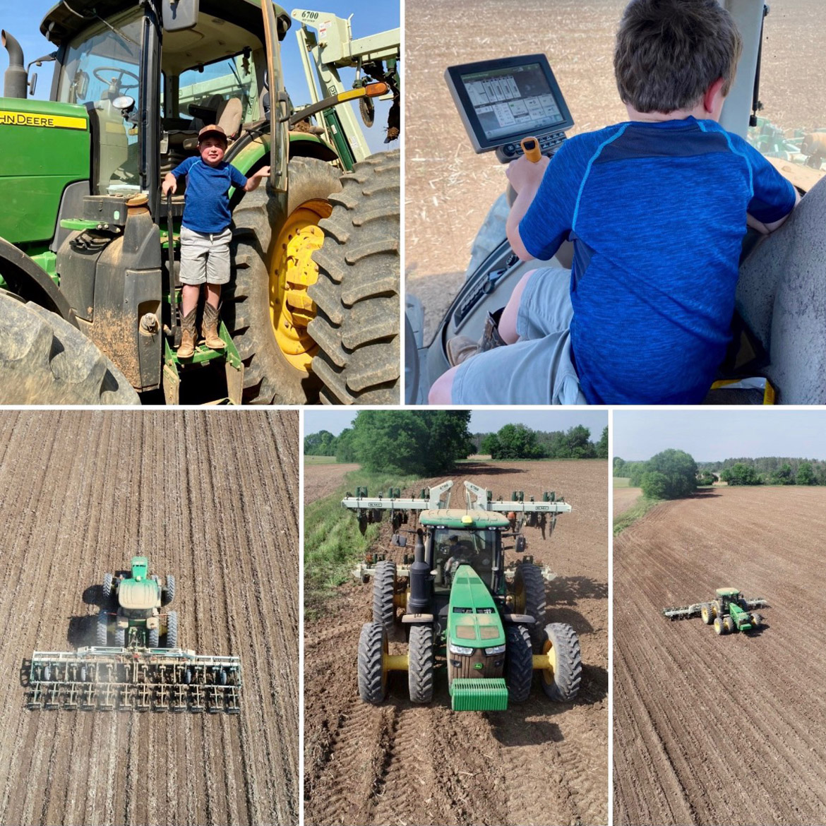 Cleveland handles the 370 horsepower John Deere 8370 R on his own, dragging a harrow and laying rows for his father to plant in.