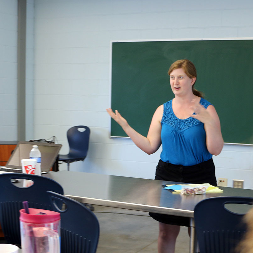 Alicia Holloway, Agriculture and Natural Resources agent in Barrow County, teaches a professional development class for teachers on school gardening. (Photo prior to March 2020)