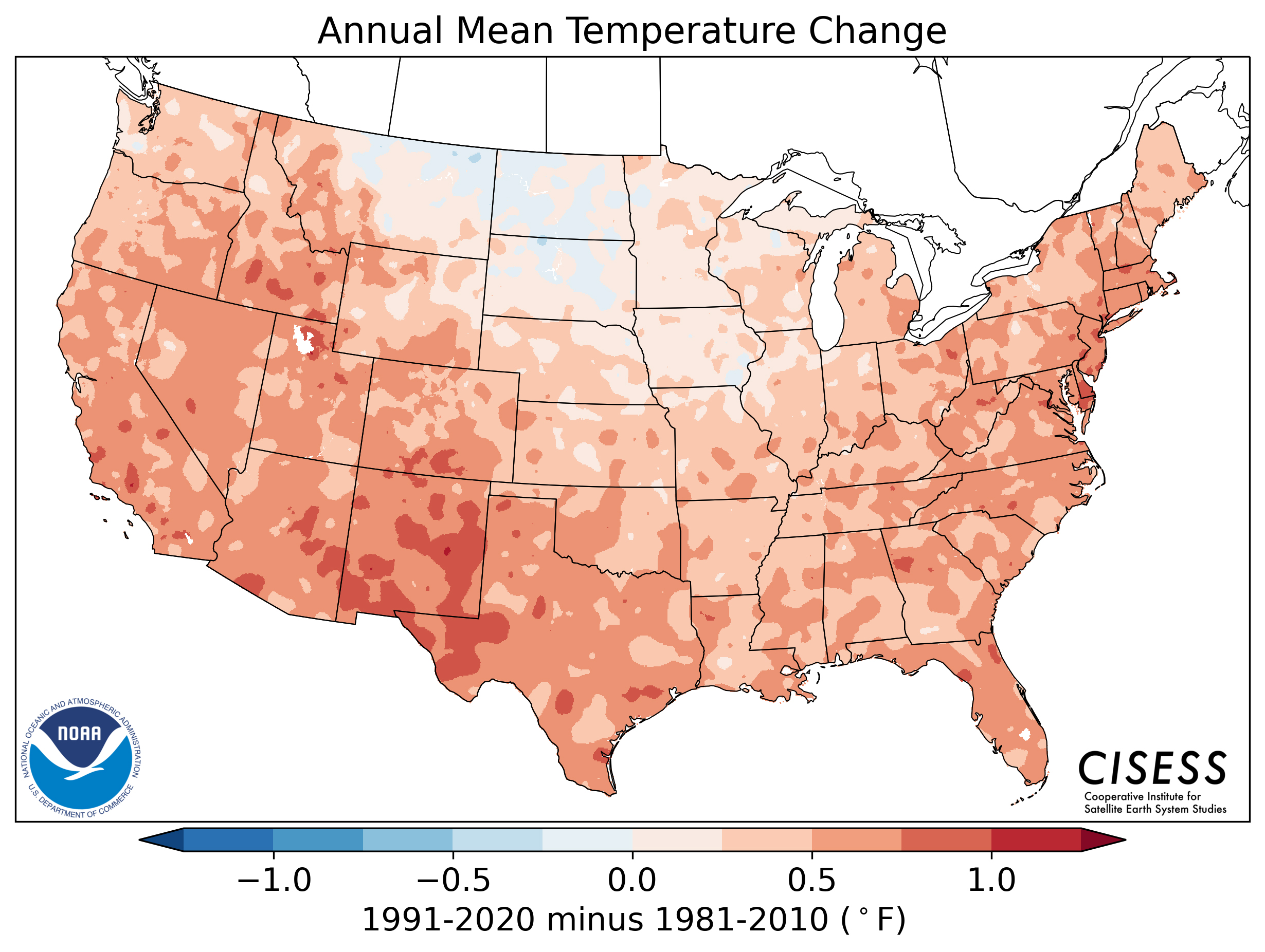 Most of the U.S. was warmer, and the eastern two-thirds of the contiguous U.S. was wetter, from 1991–2020 than the previous normals period, 1981–2010. With 20 years of overlap between the current normals and the previous iteration (1991–2010), annual changes between these two data sets were somewhat muted compared to trends over the same period. Monthly and seasonal changes are more dynamic. For example, the current normals for the northern-central U.S. are cooler in the spring, while much of the Southeast is now warmer in October, cooler in November and warmer again in December. Atmospheric circulation dynamics and surface feedbacks result in substantial differences from month to month and region to region.