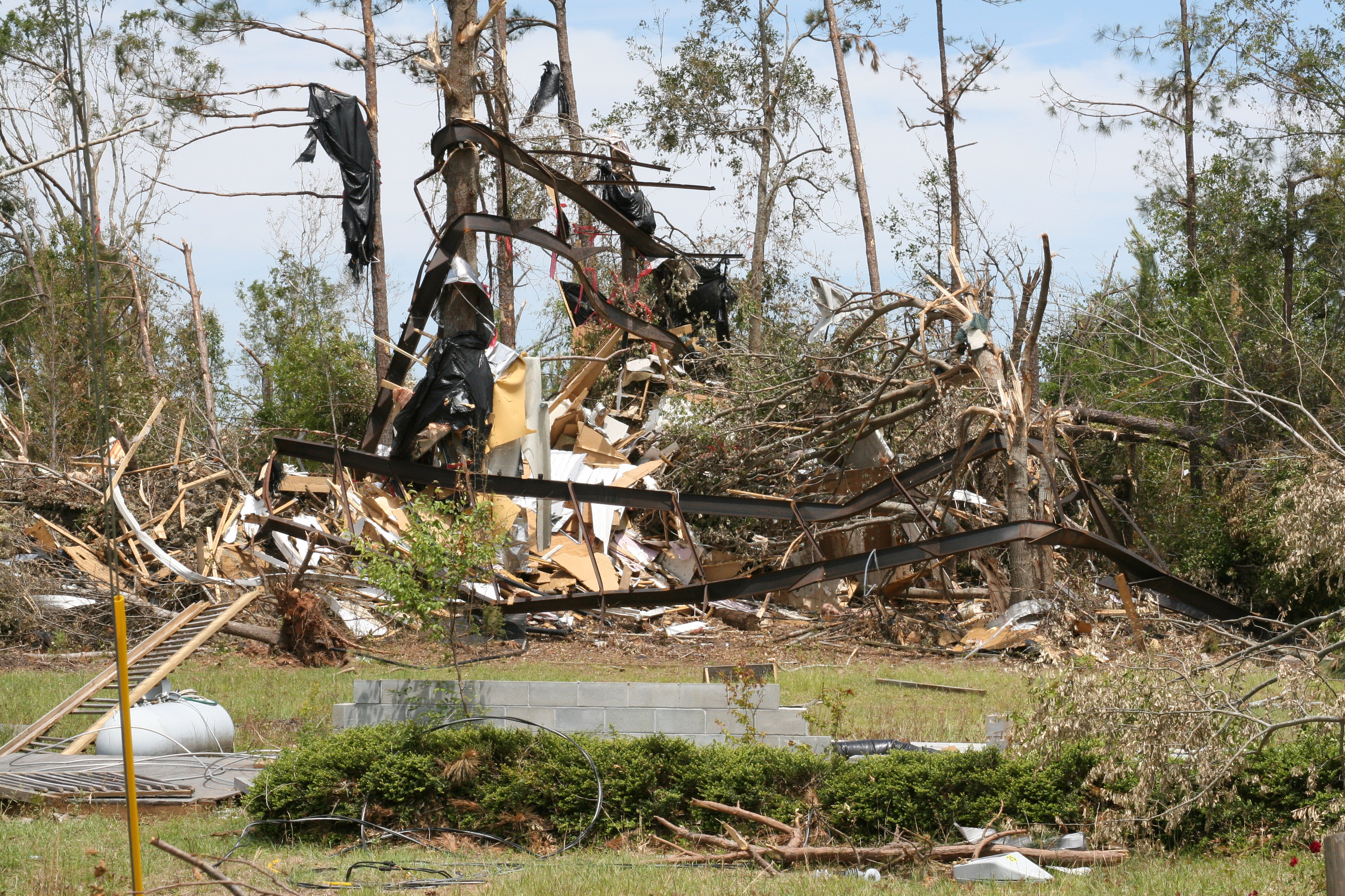 Debris is all that remains of a home in the unincorporated area of Rio in Spalding County, Ga. A tornado struck there just after midnight on May 28, 2011.
