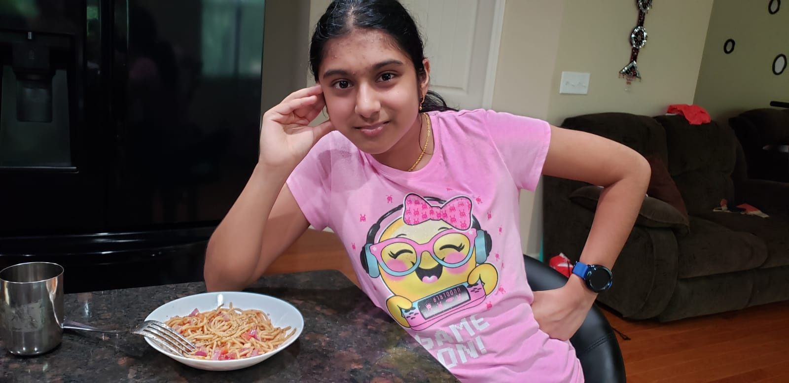 """Georgia 4-H'er Malavika Balamurali displays the dish she cooked during a virtual session of """"Adulting 101,"""" a virtual youth development series for 4-H youth that teaches life skills."""