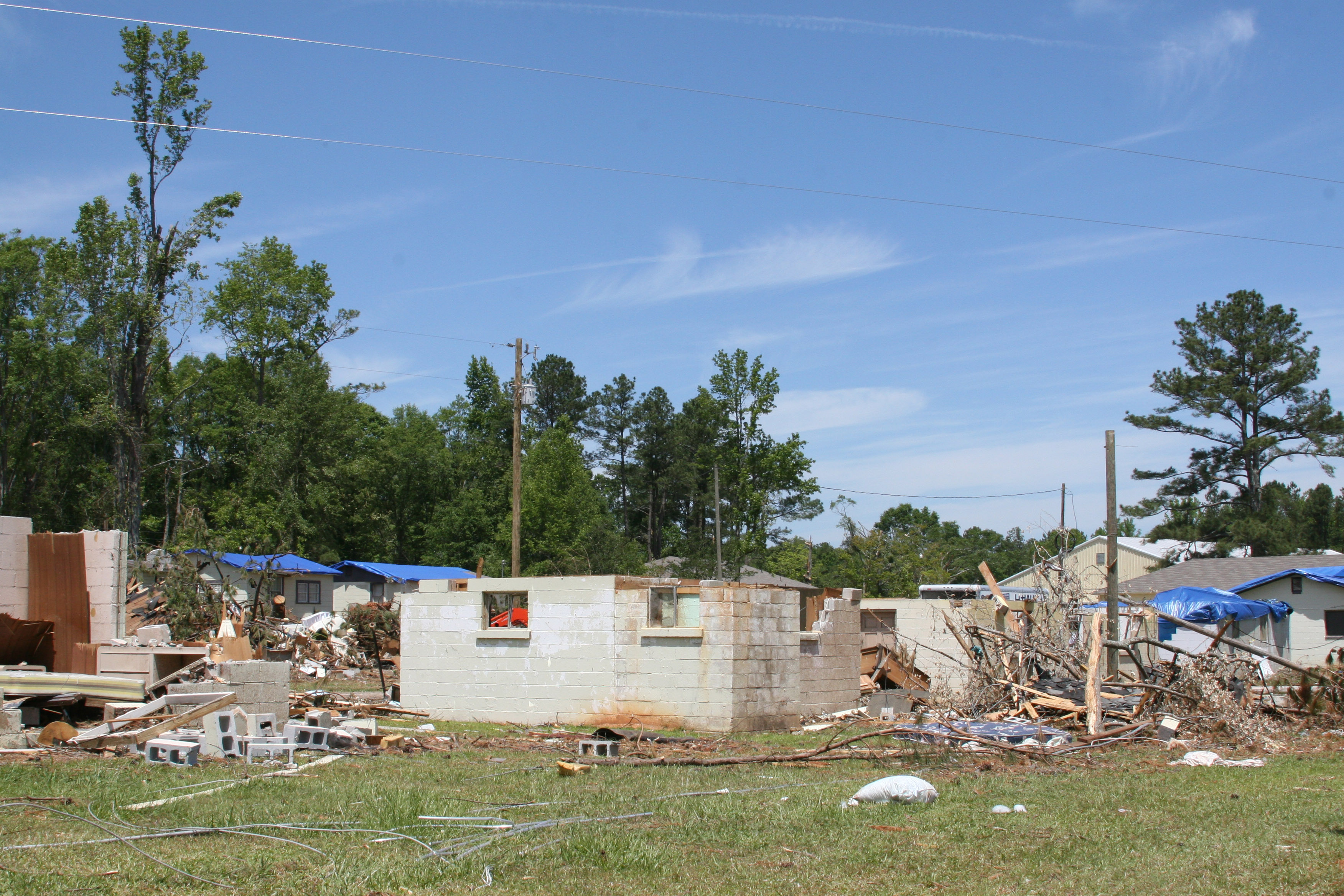Roofs and walls were blown from masonary block cabins at Pirkle Campground in Spalding County, Ga., by a tornado that struck the area on May 28, 2011.