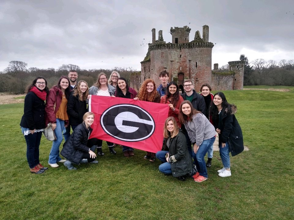 Lauren Pike, recipient of the 2021 Broder-Ackermann Global Citizen Award, participated in the Youth Engagement in Agriculture program in Scotland, where UGA College of Agricultural and Environmental Sciences students lead elementary school lessons in agriculture and implement service-learning projects.