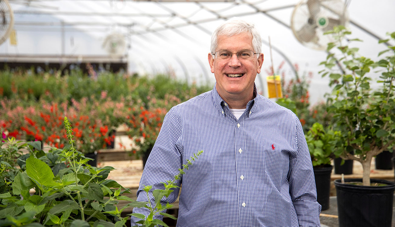 John Ruter, Allan M. Armitage Professor in the College of Agricultural and Environmental Sciences, was named UGA's 2021 Inventor of the Year, recognizing his many years of work developing and testing new ornamental plant cultivars, many of which are sold commercially and adorn landscapes around the country. (Photo by Dorothy Kozlowski)