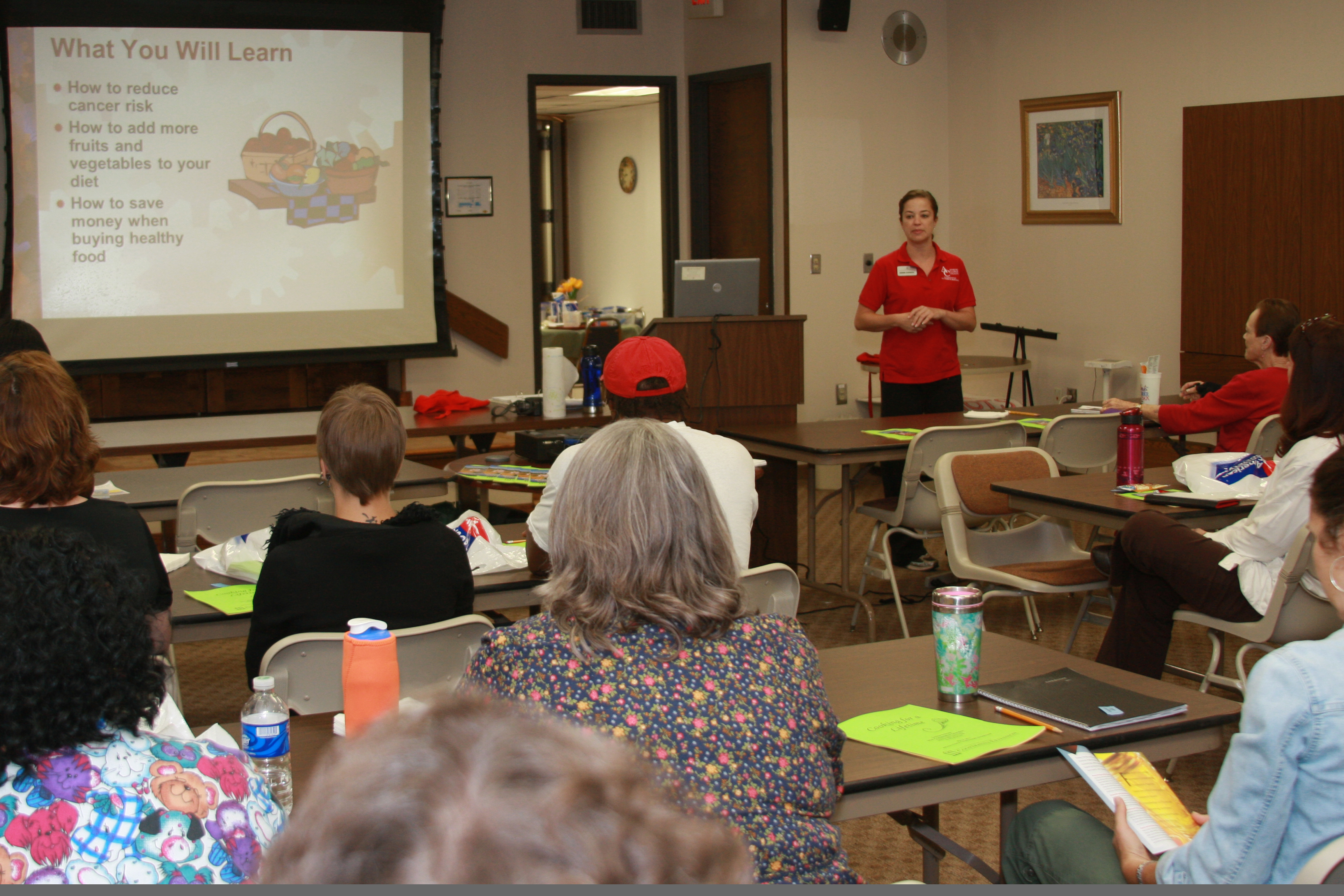 Extension agents, like Denise Everson, offer educational classes to inform the public that healthy lifestyle choices can decrease the risk of cancer.