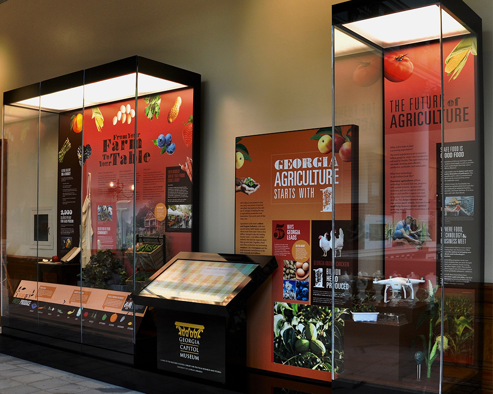 The colorful exhibit highlights the seasons in which various Georgia crops are harvested and some of the ways farmers use technology, such as apps and drones to monitor their crops for diseases or pests and to conserve water. The exhibit includes an interactive kiosk where students can explore games and videos featuring interviews with urban farmers in and around the Atlanta area.