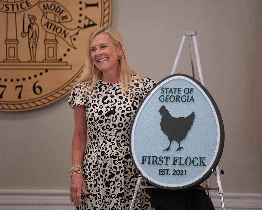 Georgia First Lady and UGA graduate Marty Kemp's support for Georgia 4-H and Georgia FFA led to the establishment of a First Flock of laying hens at the Governor's Mansion in Atlanta.