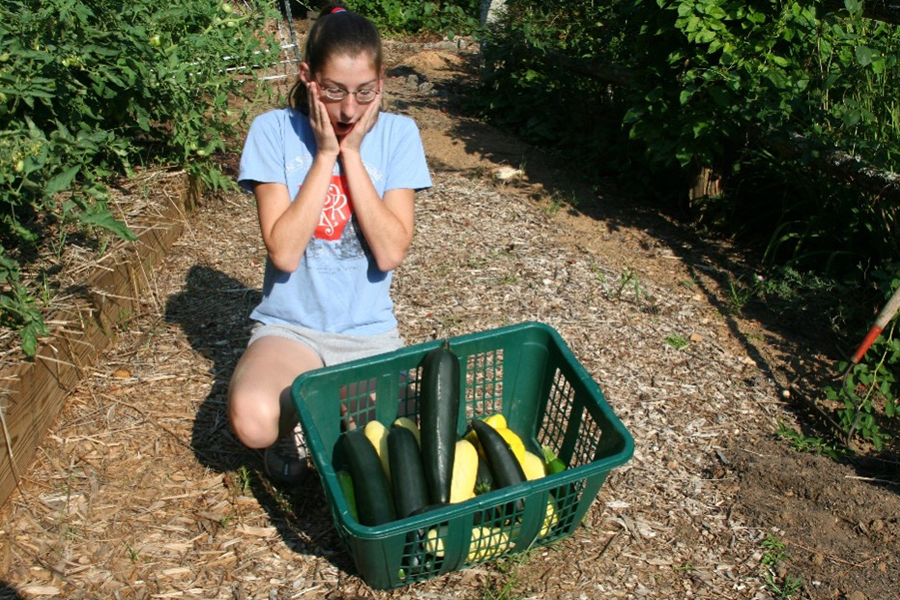 University of Georgia horticulture assistant Makenzie English seems overwhelmed by the proliferation of zucchini and summer squash from the summer garden.