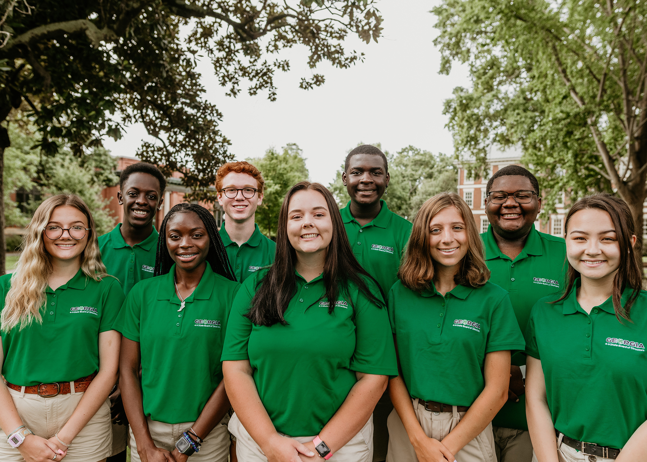 The 2021-22 Georgia 4-H State Board of Directors are (front row, left to right) Georgia Simmons, Aniyah Hall, Kaylee Collins, Katie Beth Brewer, Hinano Tomlinson, (back row, left to right) Willie White, Davis Slate, Jay Lovett and Ashton Ates.