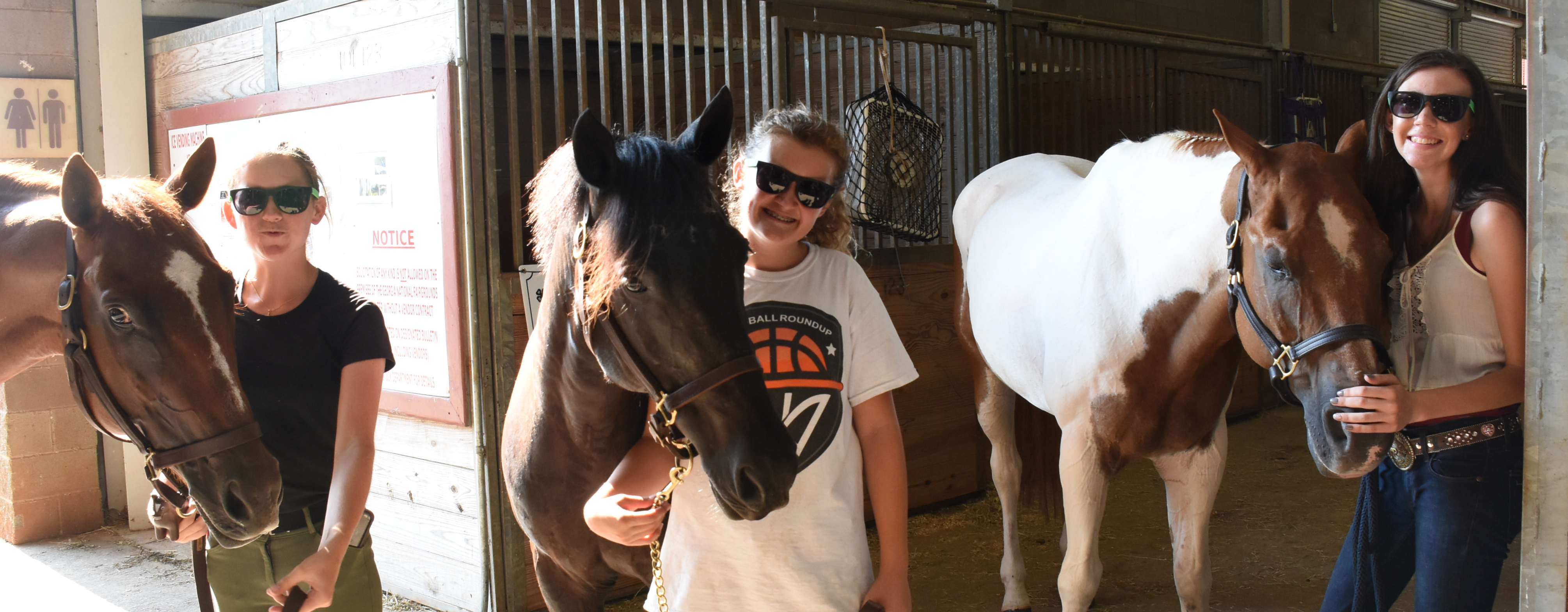 Georgia 4-H'ers had fun in the trick horse contest with winners (from left) Cate Stalling and Adler Rae Owens, both of Sumter County and Emily Coggins of Oconee County.
