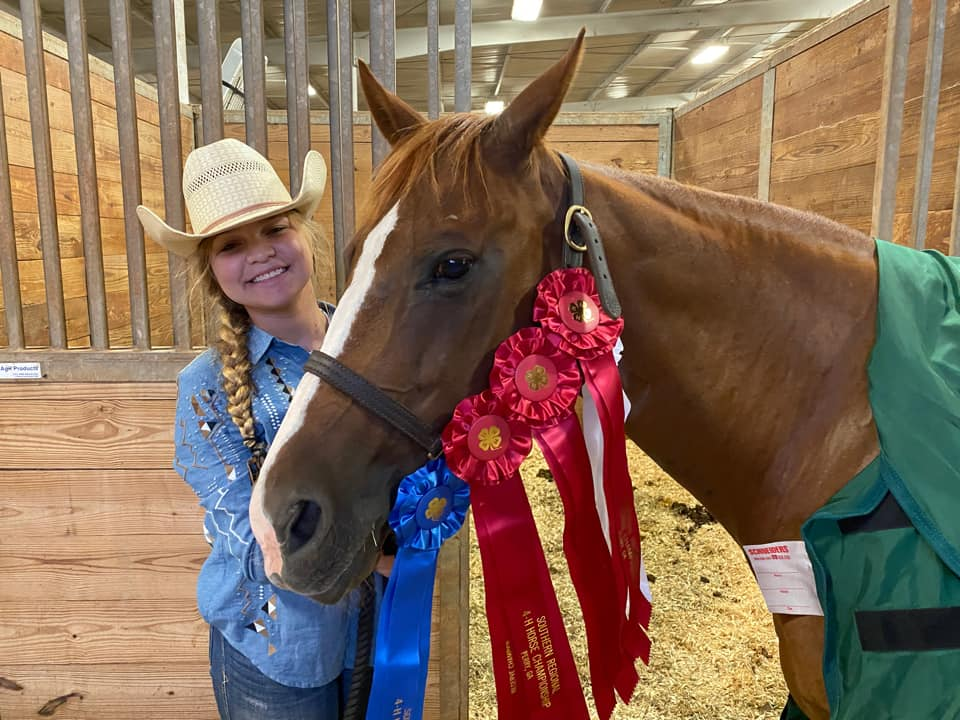 Bleckley County's Kaylee Cahill won first in several ranch horse classes to become overall high point champion for the deep ranch horse division.