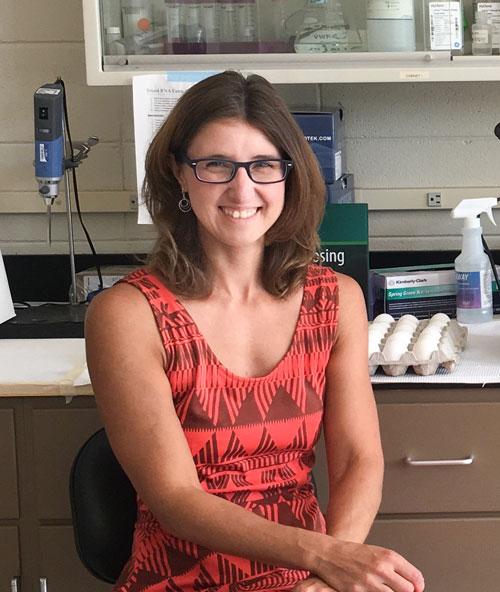 Associate Professor Kristen Navara in her lab