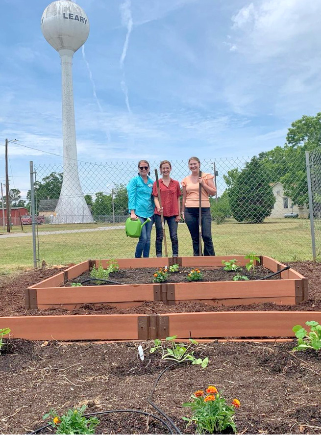 Volunteers with Healthier Together Calhoun weeded, mulched and planted herbs, peppers, squash, zucchini, okra, tomatillos, and pollinator plants for the Leary Community Garden's summer season.