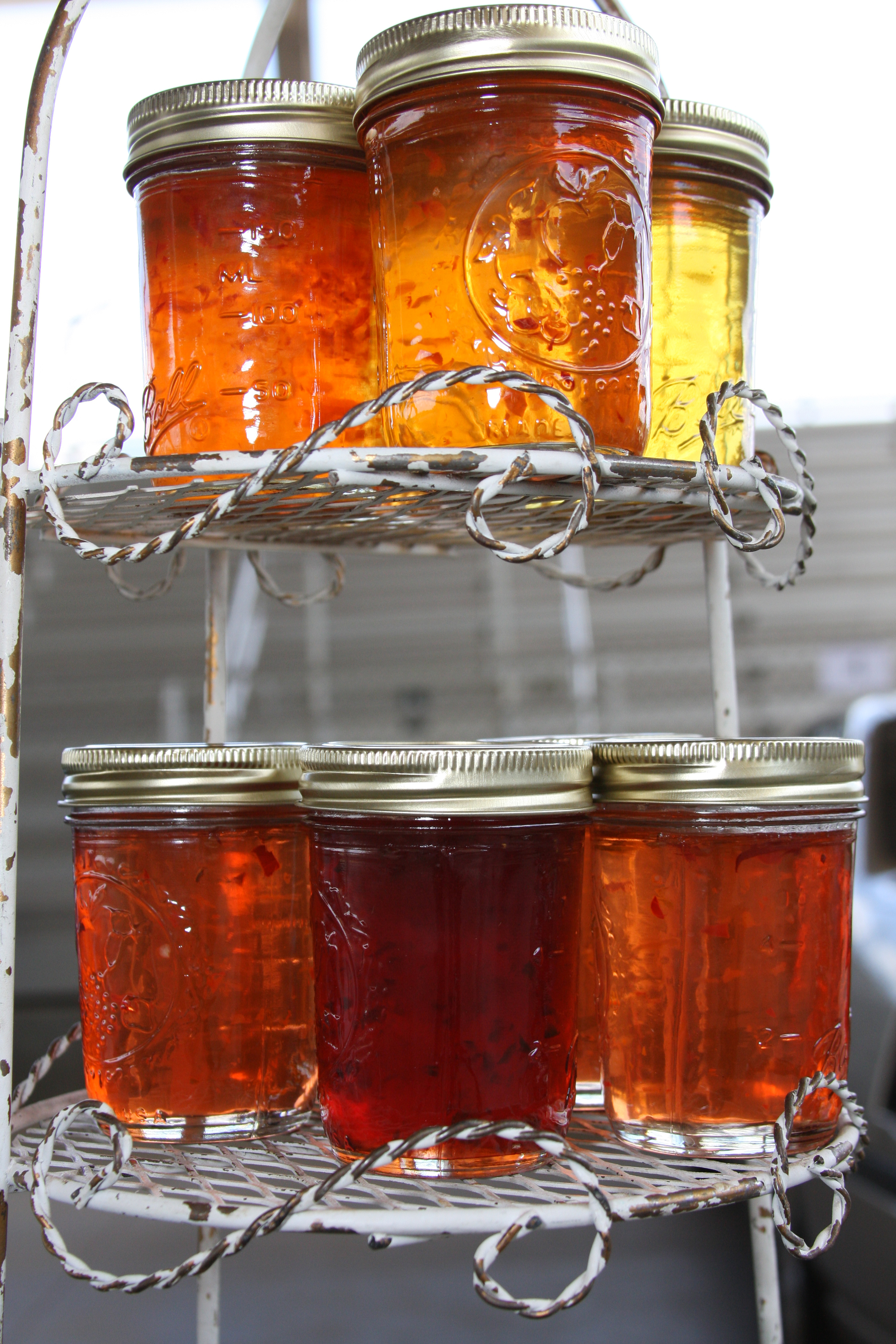 An assortment of jellies sit on display at the Henry County Farmer's Market.