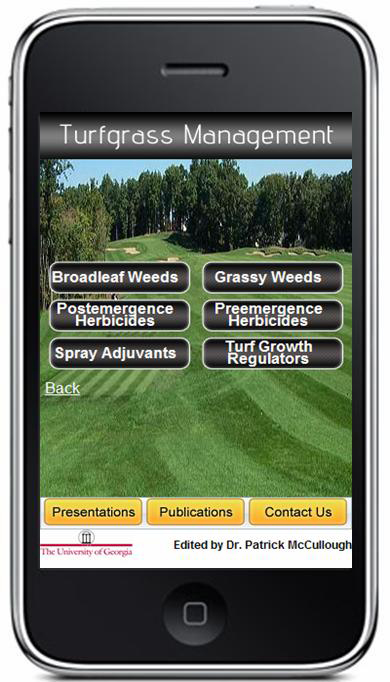 Screen shot of Turfgrass Management iPhone application. Developed by Patrick McCullough July 2009.