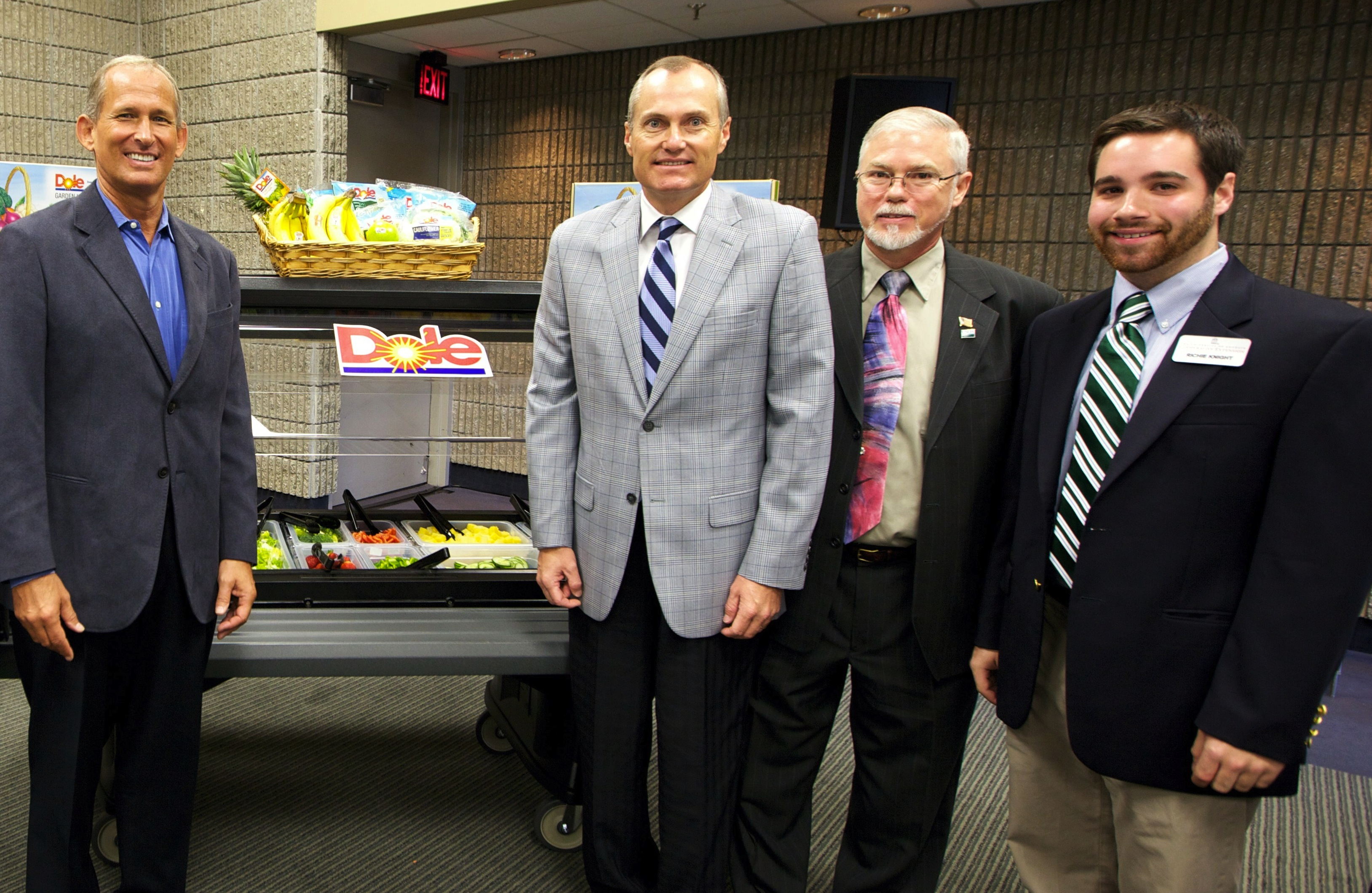 Dole Foods, Georgia Lt. Gov. Casey Cagle and Georgia 4-H have joined forces to help three Georgia high schools serve healthy food on new salad bars. Pictured left to right are Marty Ordman (Dole), Cagle, Kirk Faruquharson (USDA) and Richie Knight (Georgia 4-H).
