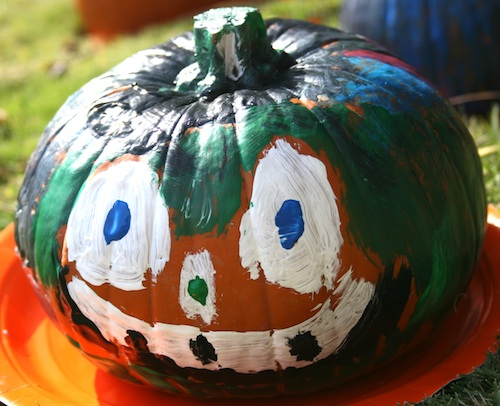 Pie pumpkin painted during workshop at UGA Research and Education Garden in Griffin, Ga.