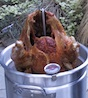 Always keep a fire extinguisher handy when cooking a fried turkey. Follow the cooking directions carefully so as not to add the turkey to too much oil and cause a dangerous spill.