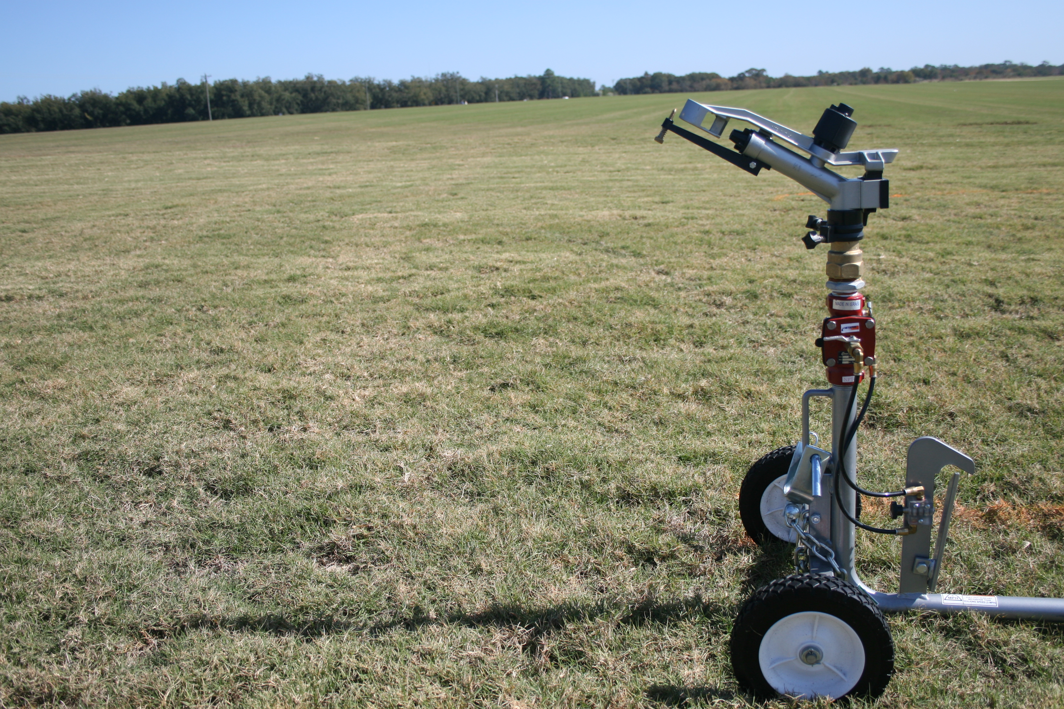 Portable irrigation sets on a sod farm in Fort Valley, Ga.