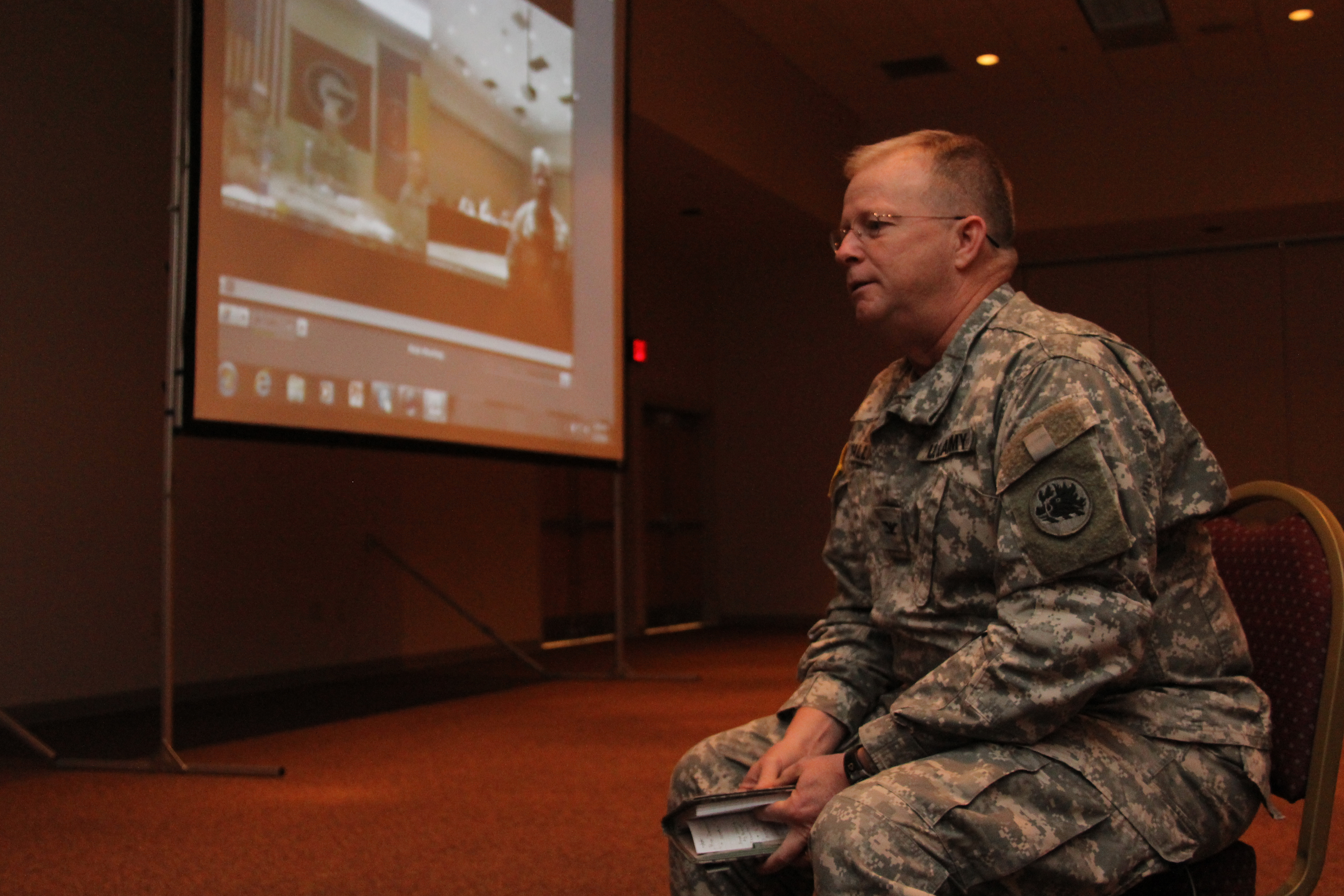 Colonel Craig McGalliard speaks to members of Georgia's first Agribusiness Development Team in Afghanistan via videoconference. McGalliard leads the 265th who will replace the current in-country team, the 201st out of Fort Gordon, later this year.