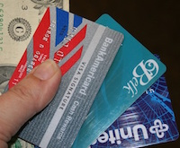 U.S. currency and credit cards.