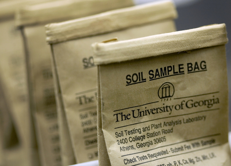 Soil sample bags await processing at the University of Georgia Soil Testing Laboratory in Athens, Ga.