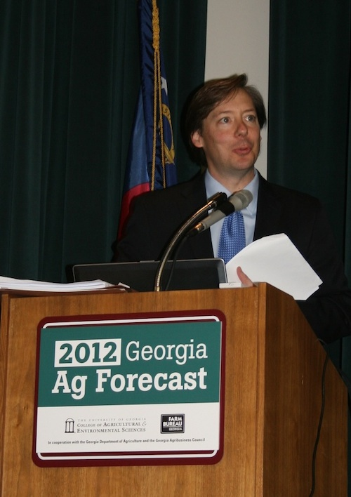Agribusiness lawyer Nowell Berreth presented the Georgia Ag Forecast keynote address on the H-2A program. Through the program, farmers hire and house immigrant agricultural workers on a temporary basis.