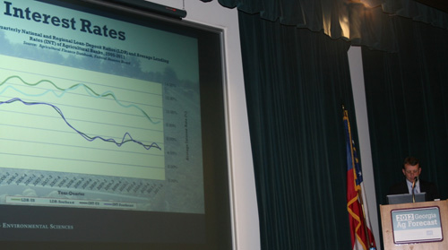University of Georgia Extension economist Nathan Smith discusses interest rates for 2012 at the Georgia Ag Forecast event in Macon, Ga., on Jan. 23.
