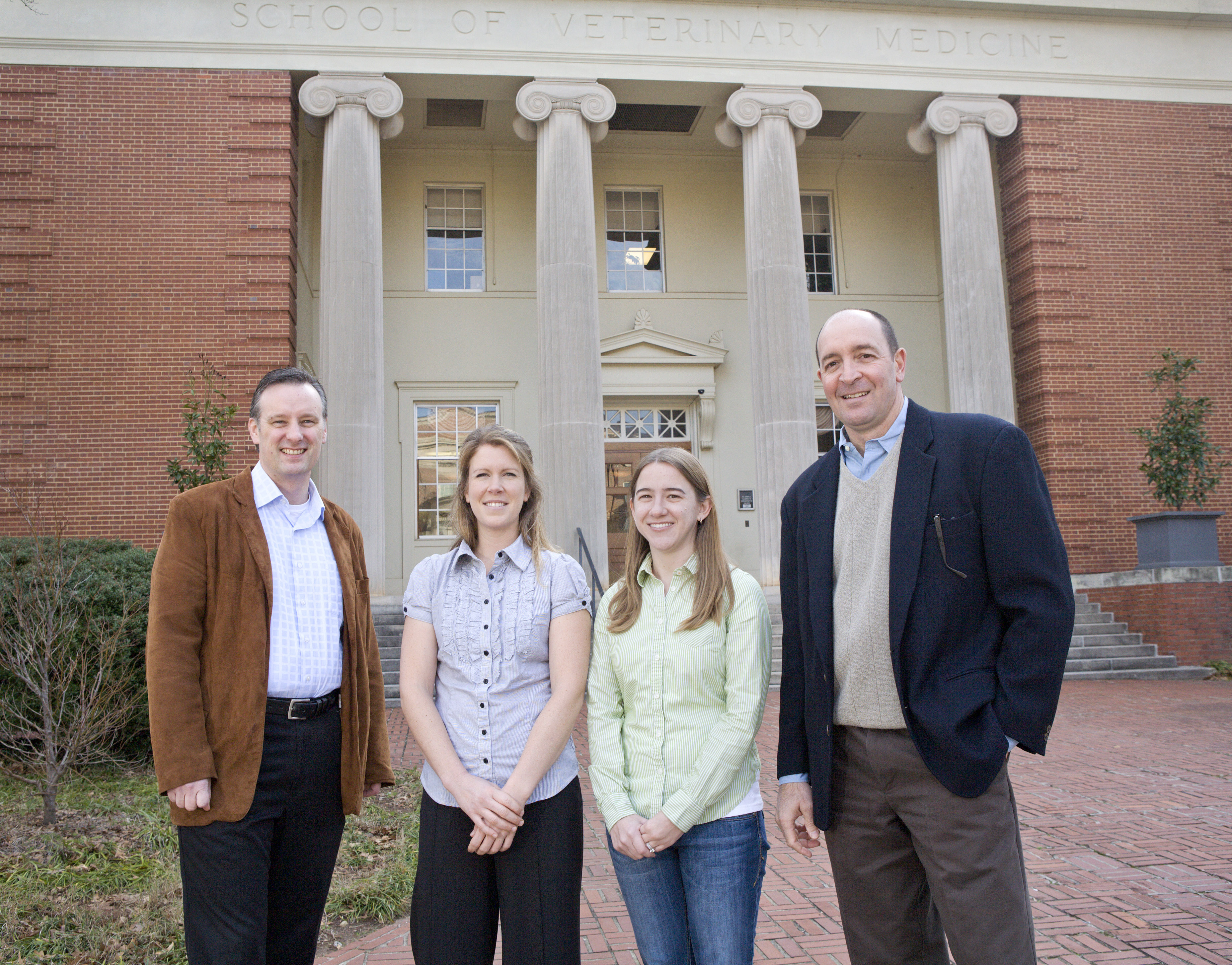 A team of UGA researchers created a new 'fracture putty' to speed healing of bone fractures. (L-R Steve Stice, Jennifer Mumaw, Erin Jordan, John Peroni.)