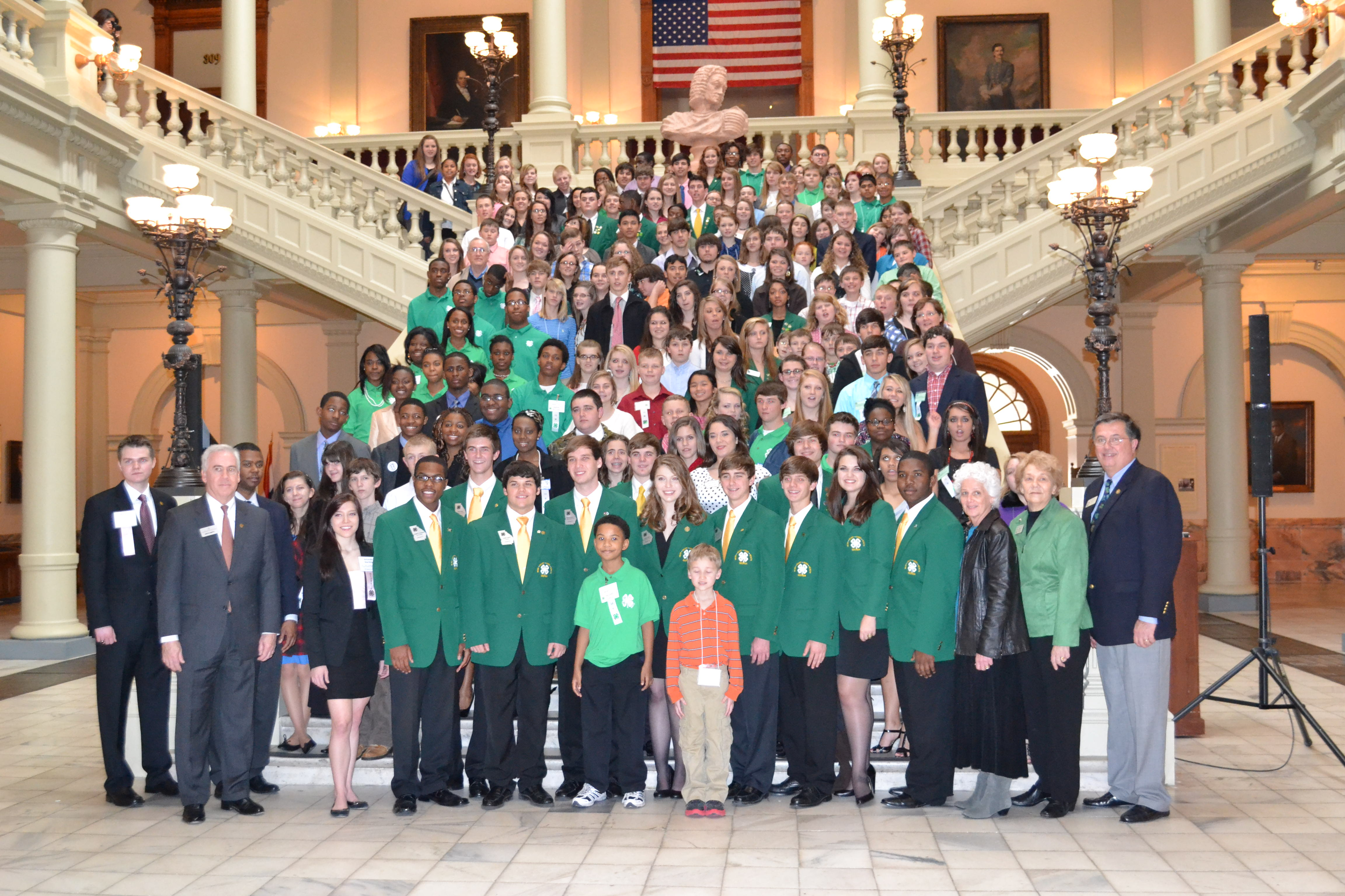 Georgia 4-H'er stop for a photo on the Georgia State Capitol steps on Annual Leadership Day and 4-H Day.