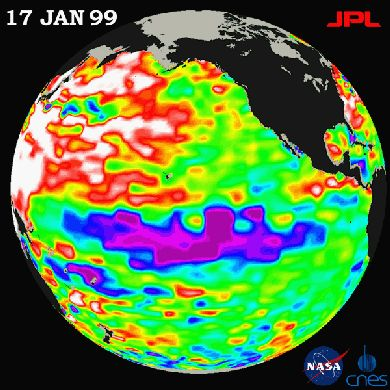 A very strong La Niña can be seen in this NASA satellite image.