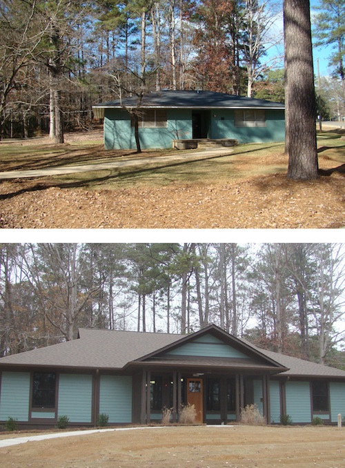 Original Rock Eagle Cabin (above) and newly constructed Rock Eagle cabin (below).